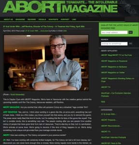 Part of my interview with award winning film maker, Jeff Renfroe for ABORT magazine